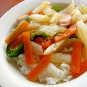 ノンオイル❤魚肉ソーセージで中華丼風♪(ダシダ味)