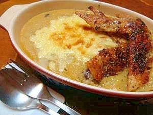 ポレンタ(圧力鍋使用)の鶏手羽肉香草焼き添え