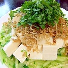 カリカリじゃこの夏野菜サラダ&とうふ