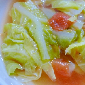 ♡やさしい味♡キャベツとミニトマトの卵スープ♡