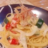 ツナと初夏の野菜の豆乳クリームパスタ