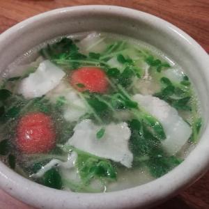 豆苗の具だくさんスープ