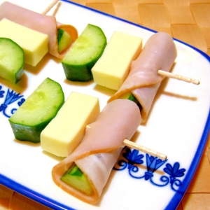 ハムとチーズときゅうりのおつまみ串