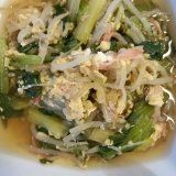 もやしとカニカマINで♪小松菜の卵とじ煮