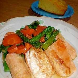 鮭ハラスとアスパラのバターソテー