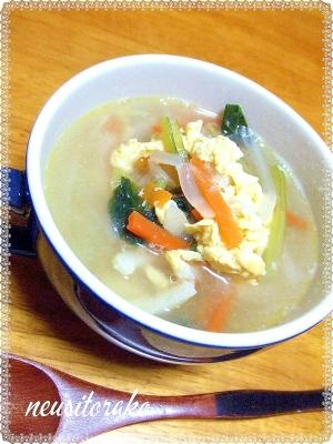 野菜とちくわのたまごスープ