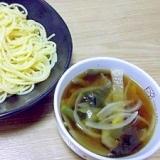 スパゲティで中華つけ麺~野菜たっぷり醤油スープ