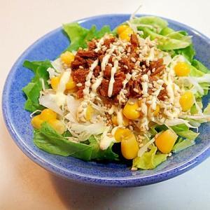 サラダ菜・キャベツ・コーン・まぐろフレークのサラダ