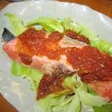 きゃべつと鮭オニオン醤油ソース