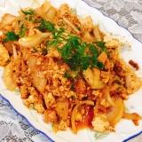 鶏むね肉と豆腐のキムチチャンプルー