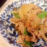 大根と豚肉のシソ炒め