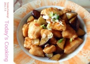 オイスターソースで簡単中華!鶏肉となすの炒め物!