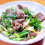 牛肉とにんにくの芽のニクニク炒め(^〇^)