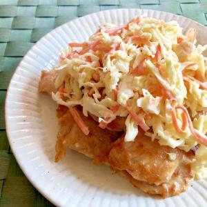 鶏むね肉の生姜醤油焼き☆コールスロー風サラダのせ