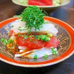 マグロとイカの韓国風さしみ*紅白のフェ