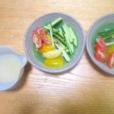 カラーミニトマトときゅうりの塩麹サラダ