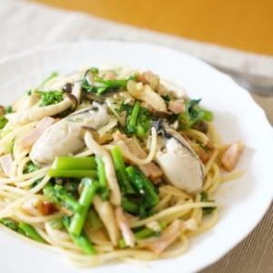 簡単旬の味♡牡蠣と菜の花の柚子こしょうパスタ
