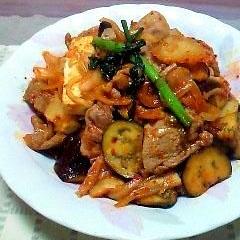なすと豆腐入り豚キムチ炒め