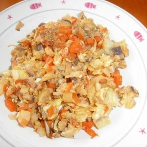 シイタケとキャベツの卵炒め