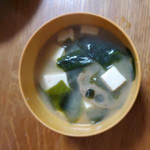 蓮根とワカメと豆腐のお味噌汁