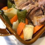 簡単*BBQソースと豚バラブロックと野菜のグリル