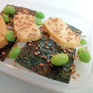 お弁当 明太子海苔と玉子焼きと枝豆のご飯