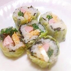 キャベツで巻き寿司
