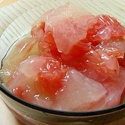 グレープフルーツジュースの寒天ゼリー