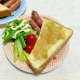 林檎葡萄ジャムトーストとウインナーサラダ朝ごはん♡