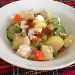 根菜ときゅうりと豆腐のサラダ