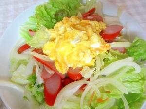 マヨスクランブルエッグとウィンナーのサラダ