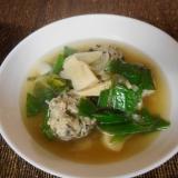 ニラ肉団子とタケノコと葉玉ねぎのスープ