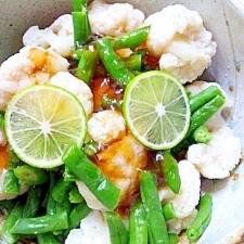 凍菜を賢く利用、インゲンとカリフラワーのぽん酢和え