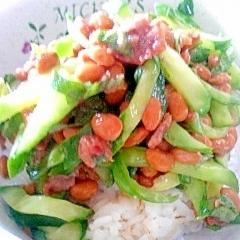 納豆の食べ方-梅しそキュウリ♪