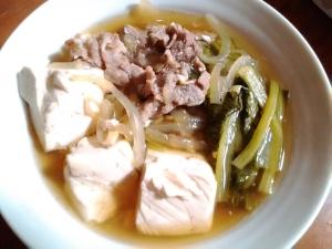 ★めんつゆだけの小松菜ぶた肉豆腐★