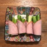 お弁当のおかず アスパラとセロリのハム巻きサラダ♪