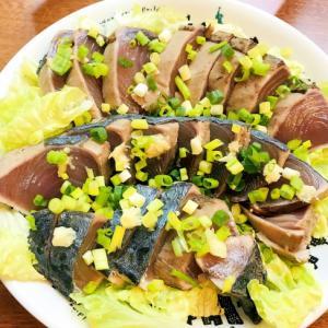 ポン酢で野菜も一緒に☆カツオのたたき☆