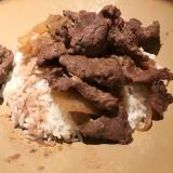 牛肉のガーリックバター丼