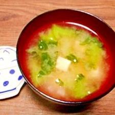 毎日のお味噌汁200杯目*かつお菜と豆腐