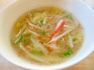 キャベツともやしのコンソメとろみスープ