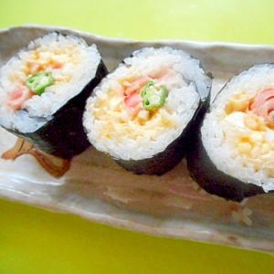 甘酢しょうがとオクラ卵の巻き寿司