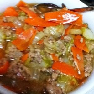 白菜、人参、玉ねぎ、挽肉のあんかけ煮