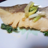 レンジで鱈の茗荷&青シソ蒸し焼き