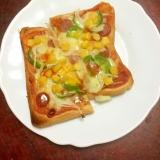 あり合わせピザトースト☆新玉葱とコーンとウインナー