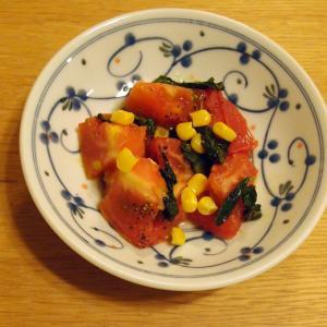 トマトとコーンのバジル炒め