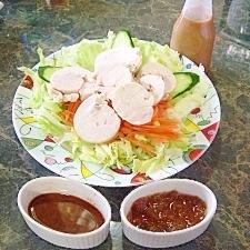 鶏ハム☆ツーンとわさびソース&スイート梅ソース