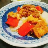 厚揚げと白菜とパプリカのそぼろオイスター炒め
