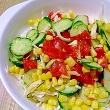 バルサミコ風味 トマトときゅうりにコーンのサラダ