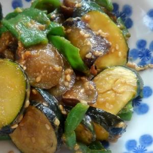 夏野菜の甘味噌炒め
