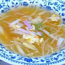 ちょっとだけ残ったカマボコで簡単もやし卵スープ♪